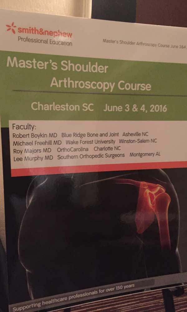 Dr. Boykin teaches latest techniques in shoulder surgery at Master's Shoulder Course