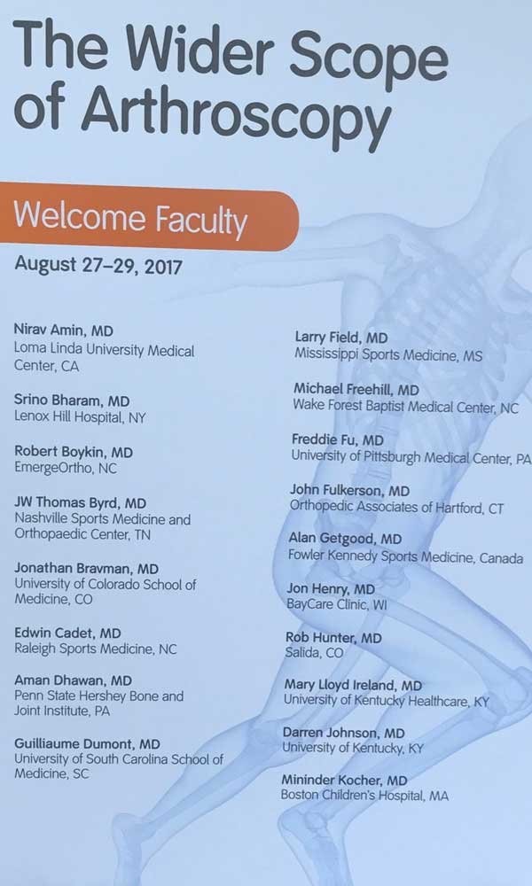 The Wider Scope of Arthroscopy is an annual course sponsored by Smith and Nephew
